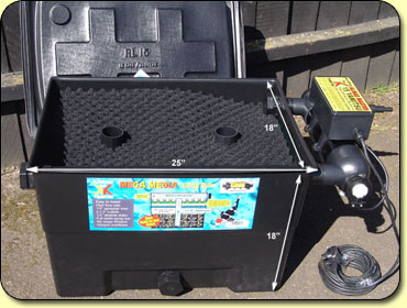 Mega media black box large kockney koi for Garden pond pump setup
