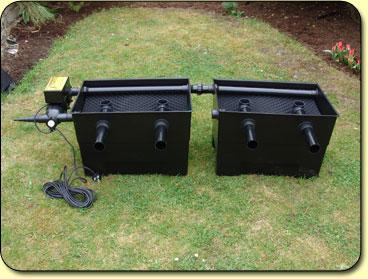 Mega media black box large twin kockney koi for Large pond filter box